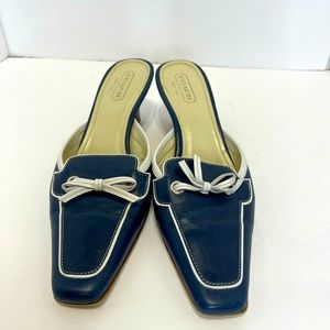Coach mules size 9 1/2 B navy blue and cream